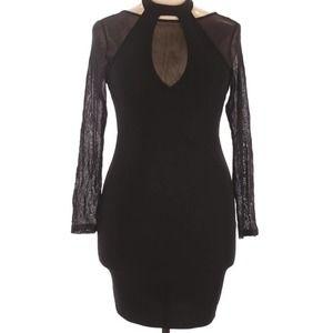 SKY Plus Cocktail Dress Sheer Halter Mini Bodycon